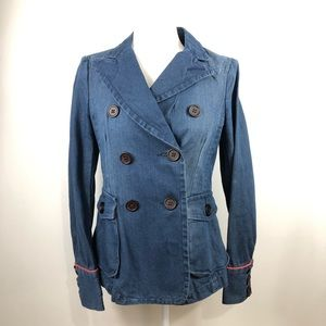 Marc Jacobs Faded Cotton Blue Denim Embroidered Double Breasted Jacket